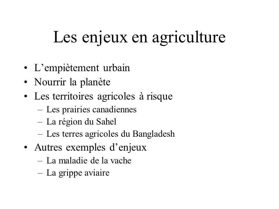Les enjeux en agriculture