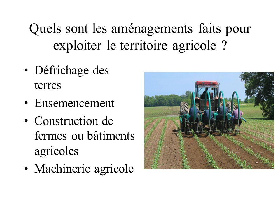 Quels sont les aménagements faits pour exploiter le territoire agricole