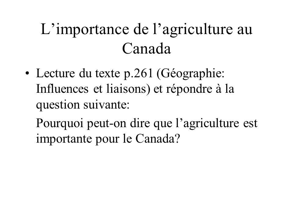L'importance de l'agriculture au Canada