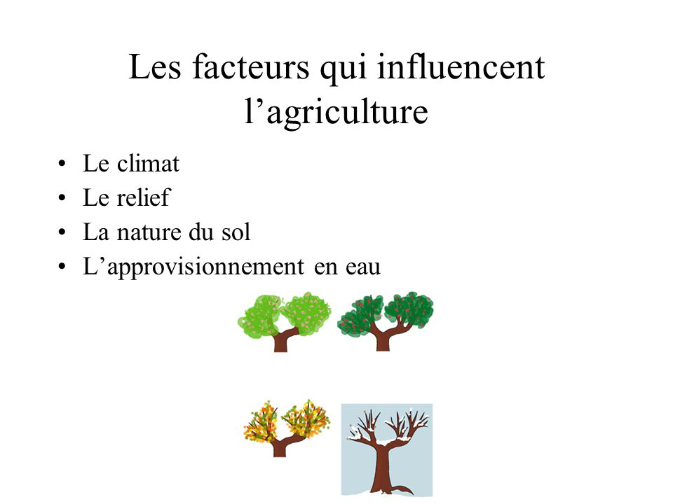 Les facteurs qui influencent l'agriculture