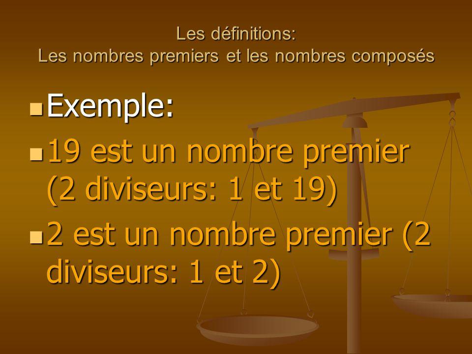 Les définitions: Les nombres premiers et les nombres composés