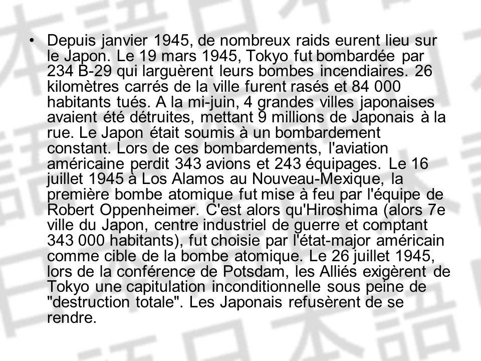 Depuis janvier 1945, de nombreux raids eurent lieu sur le Japon