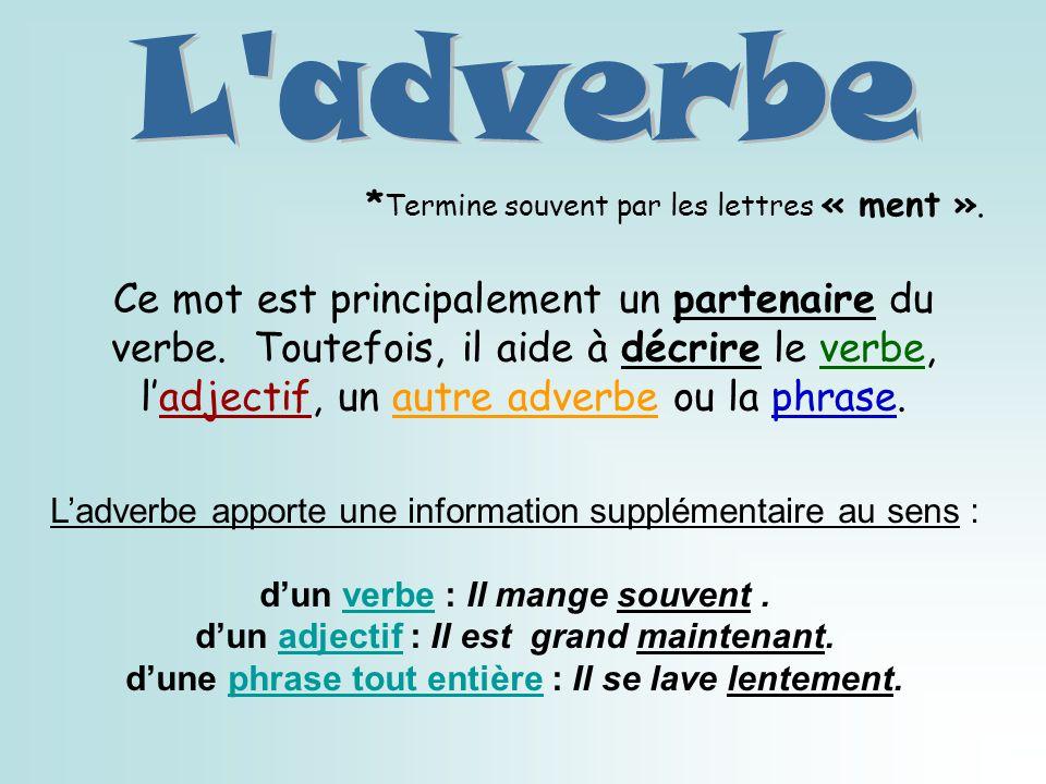L adverbe *Termine souvent par les lettres « ment ».