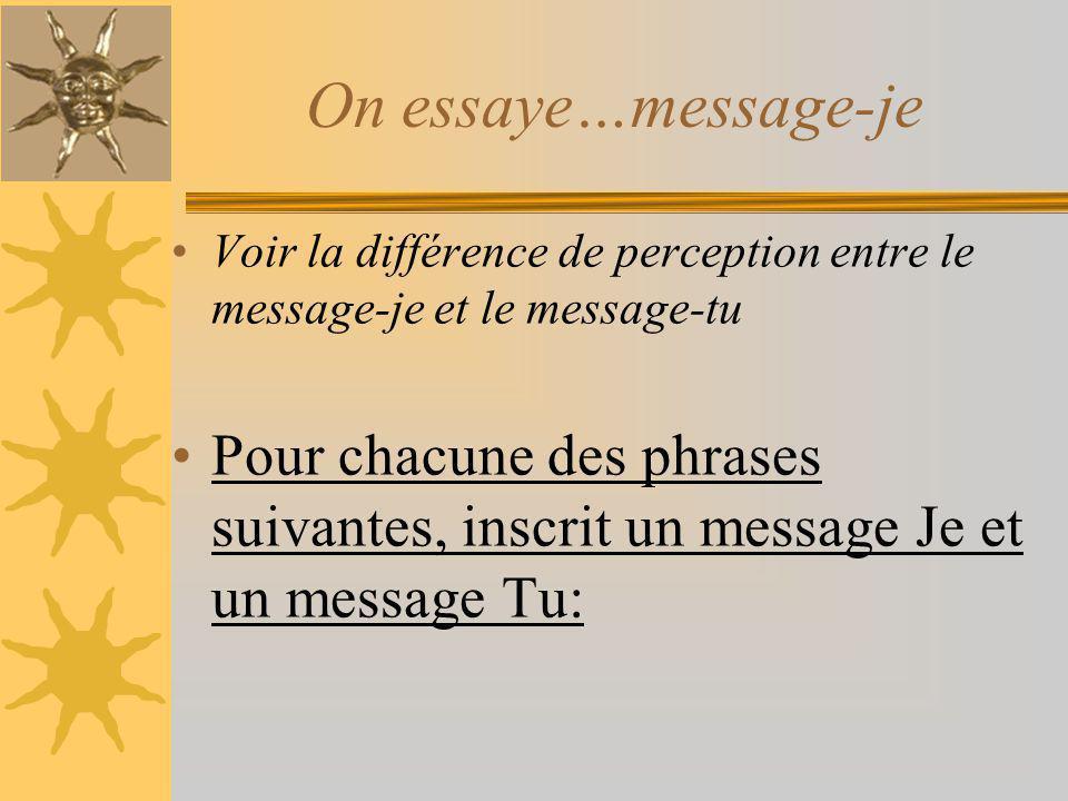 On essaye…message-je Voir la différence de perception entre le message-je et le message-tu.