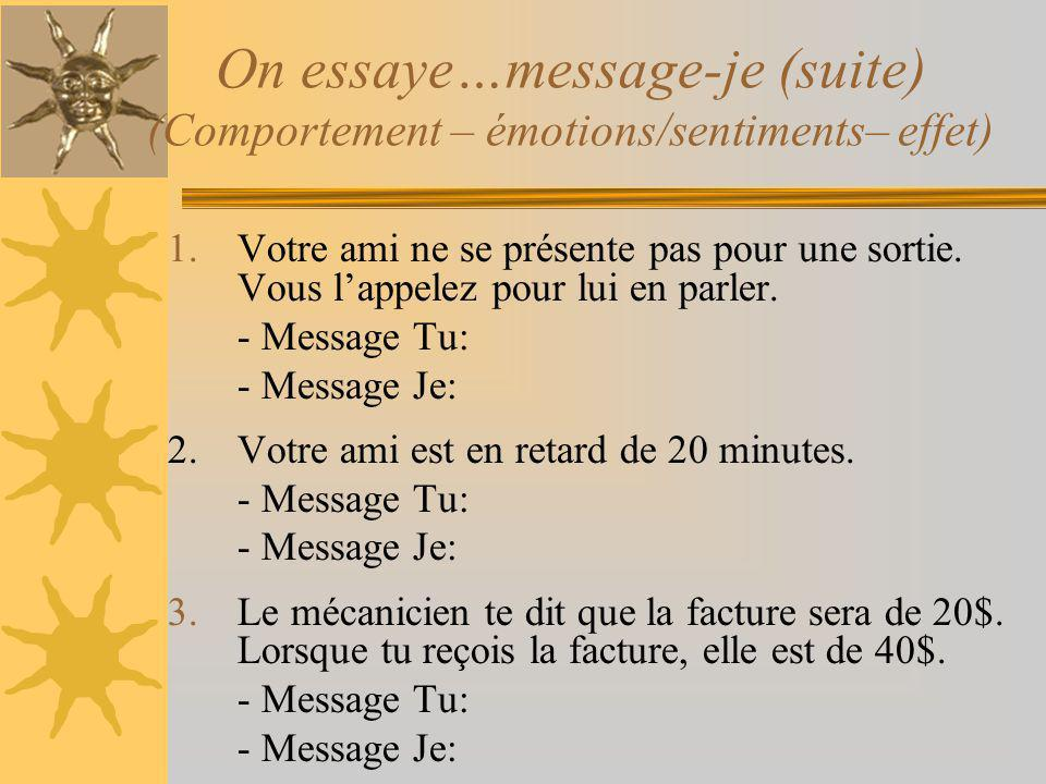On essaye…message-je (suite) (Comportement – émotions/sentiments– effet)
