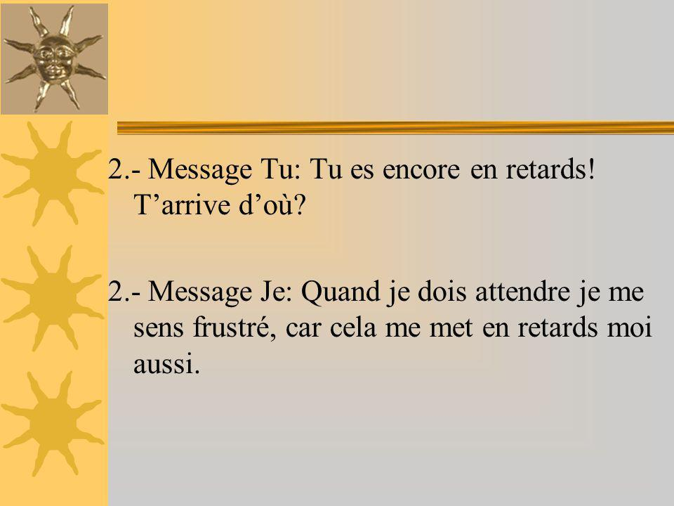 2.- Message Tu: Tu es encore en retards! T'arrive d'où