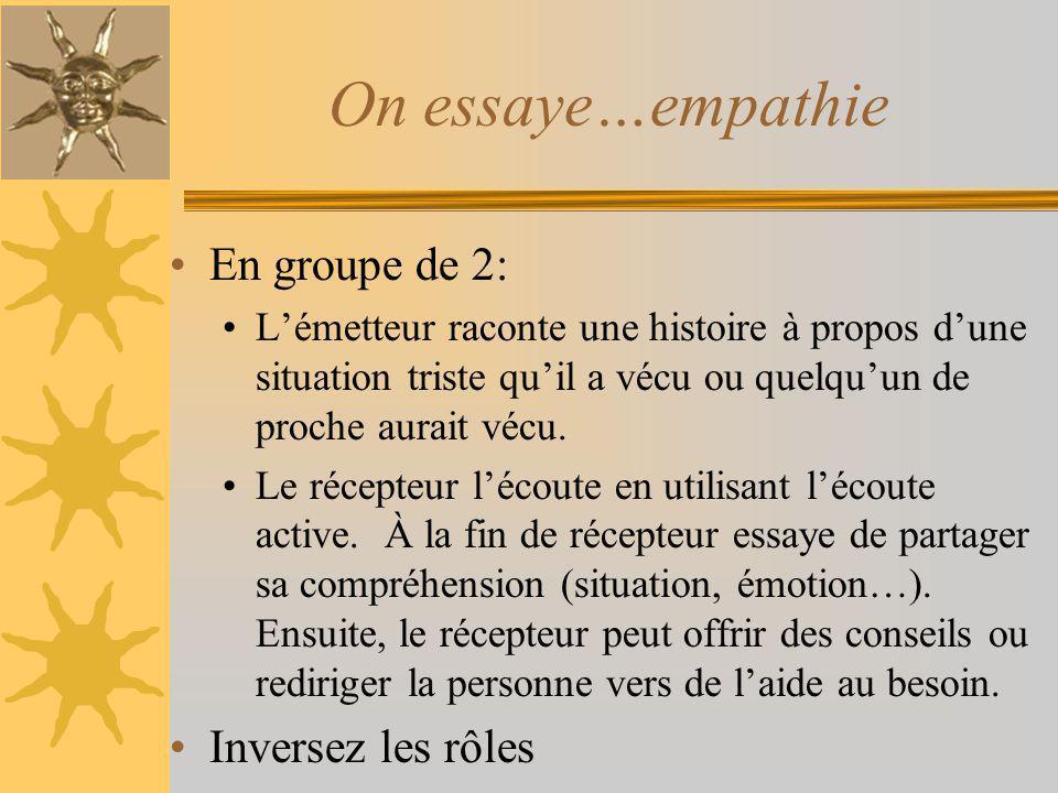 On essaye…empathie En groupe de 2: Inversez les rôles