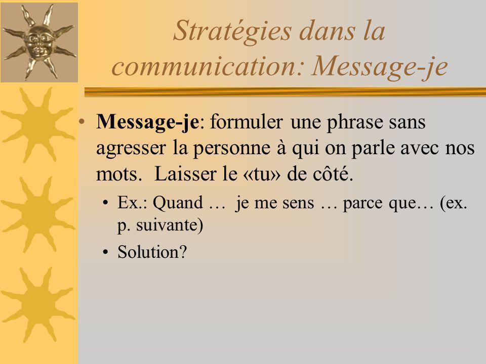 Stratégies dans la communication: Message-je