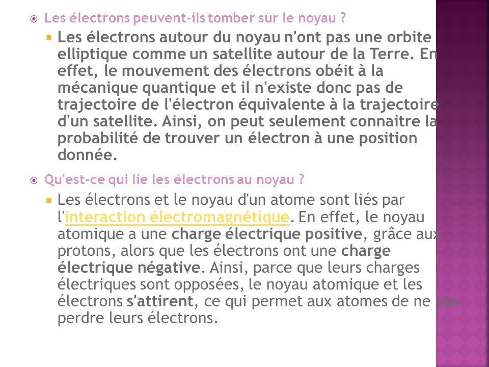 Les électrons peuvent-ils tomber sur le noyau