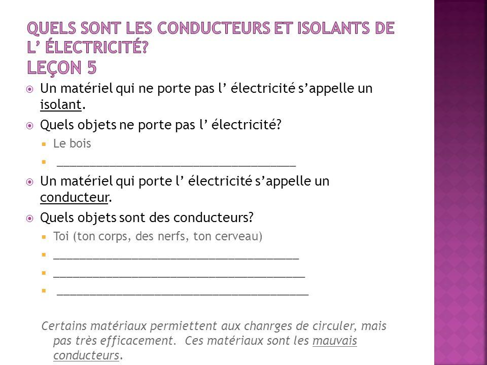 Quels sont les conducteurs et isolants de l' électricité Leçon 5