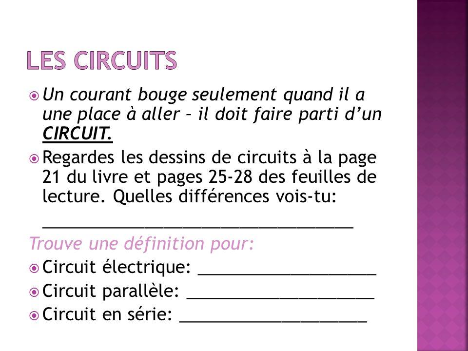 Les circuits Un courant bouge seulement quand il a une place à aller – il doit faire parti d'un CIRCUIT.