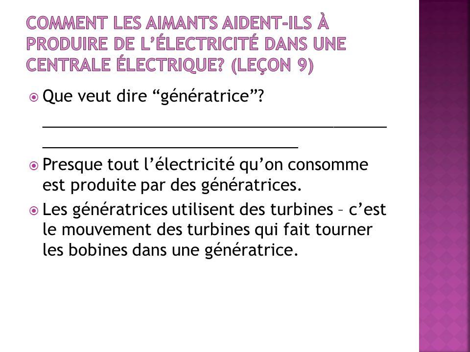 Comment les aimants aident-ils à produire de l'électricité dans une centrale électrique (leçon 9)