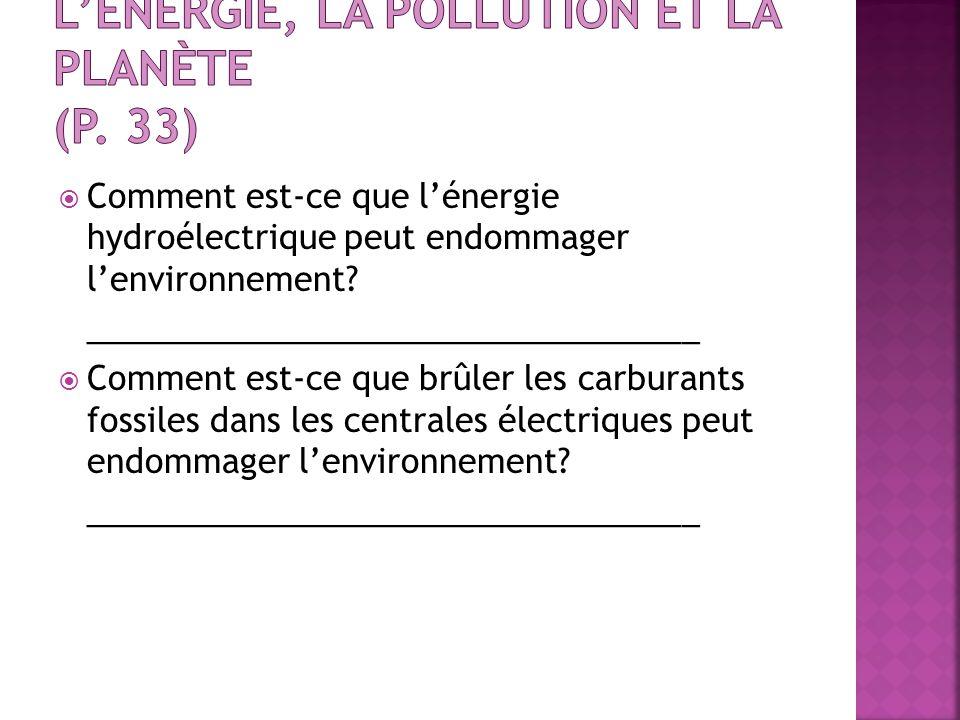 L'énergie, la pollution et la planète (p. 33)