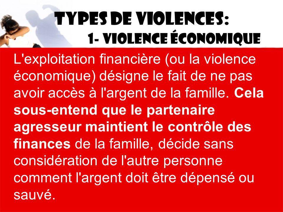 Types de violences: 1- Violence économique