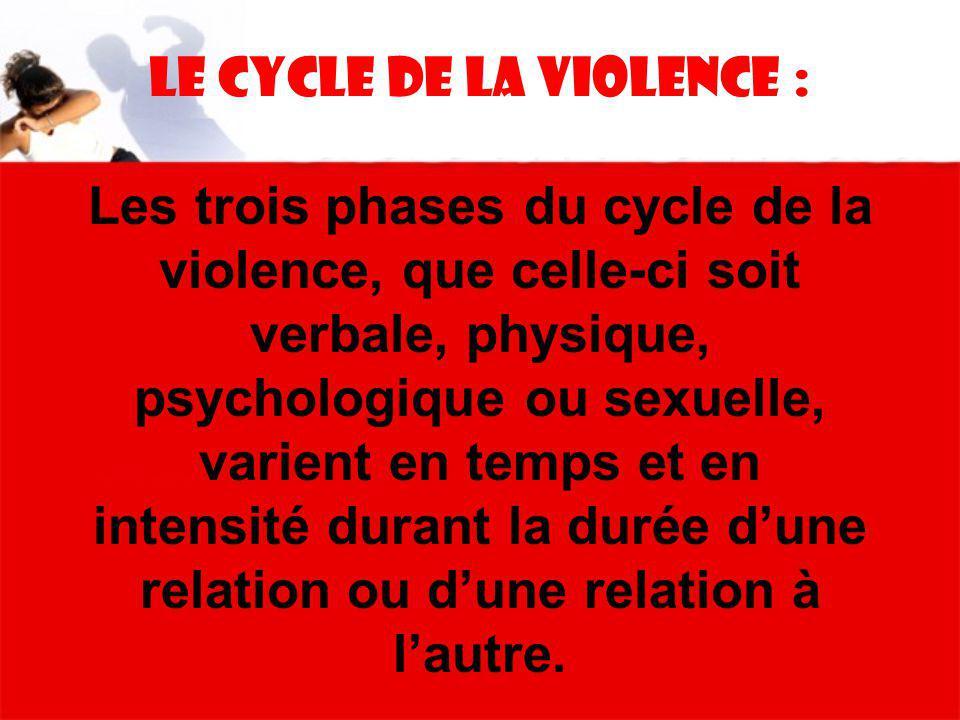 Le Cycle de la violence : Les trois phases du cycle de la violence, que celle-ci soit verbale, physique, psychologique ou sexuelle, varient en temps et en intensité durant la durée d'une relation ou d'une relation à l'autre.