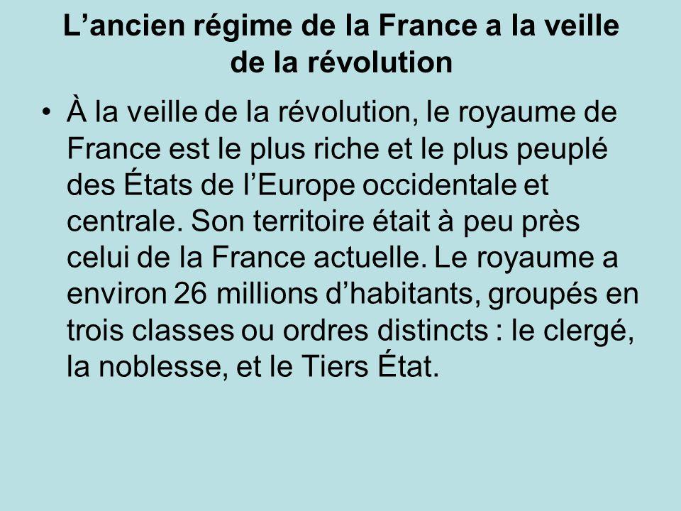 L'ancien régime de la France a la veille de la révolution