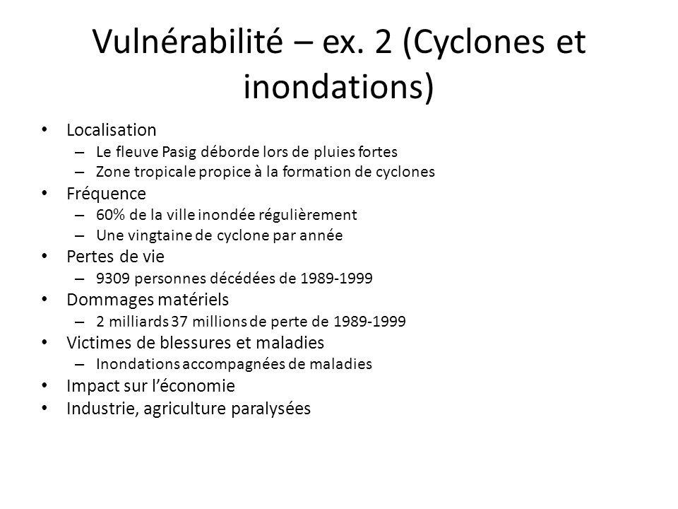 Vulnérabilité – ex. 2 (Cyclones et inondations)