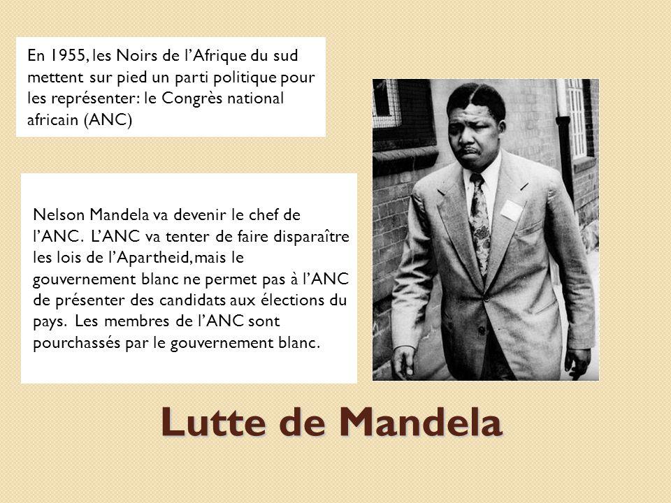 En 1955, les Noirs de l'Afrique du sud mettent sur pied un parti politique pour les représenter: le Congrès national africain (ANC)