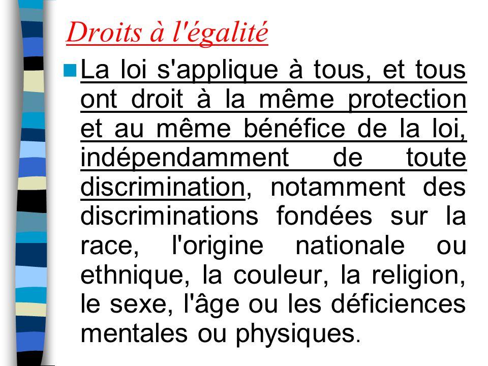 Droits à l égalité