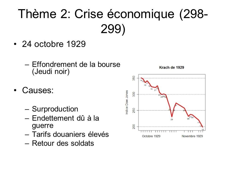 Thème 2: Crise économique (298-299)