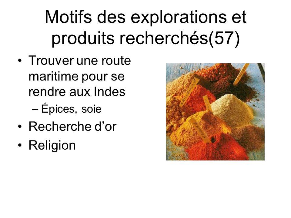 Motifs des explorations et produits recherchés(57)