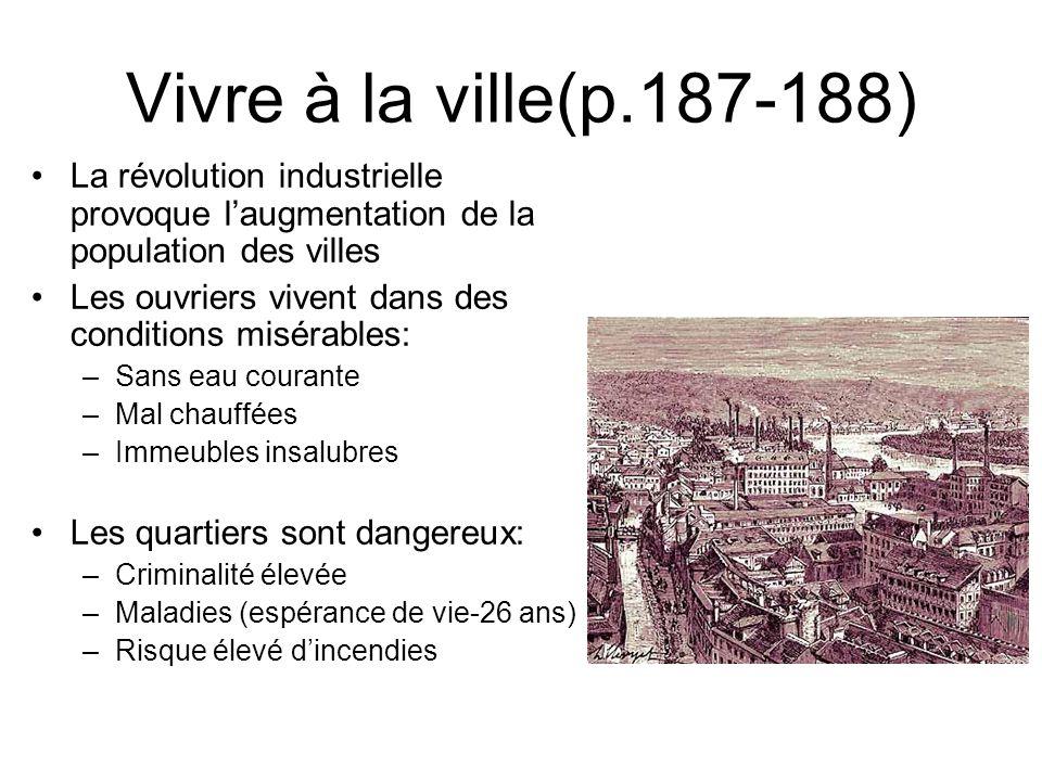 Vivre à la ville(p.187-188) La révolution industrielle provoque l'augmentation de la population des villes.