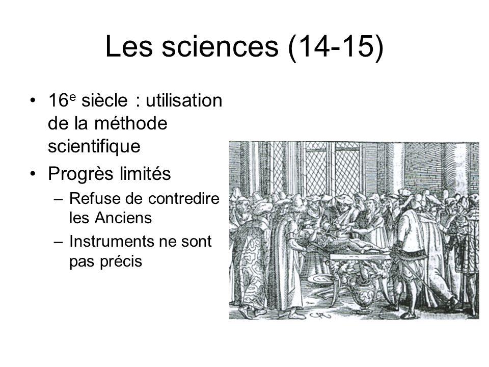 Les sciences (14-15) 16e siècle : utilisation de la méthode scientifique. Progrès limités. Refuse de contredire les Anciens.