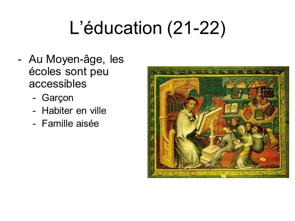 L'éducation (21-22) Au Moyen-âge, les écoles sont peu accessibles