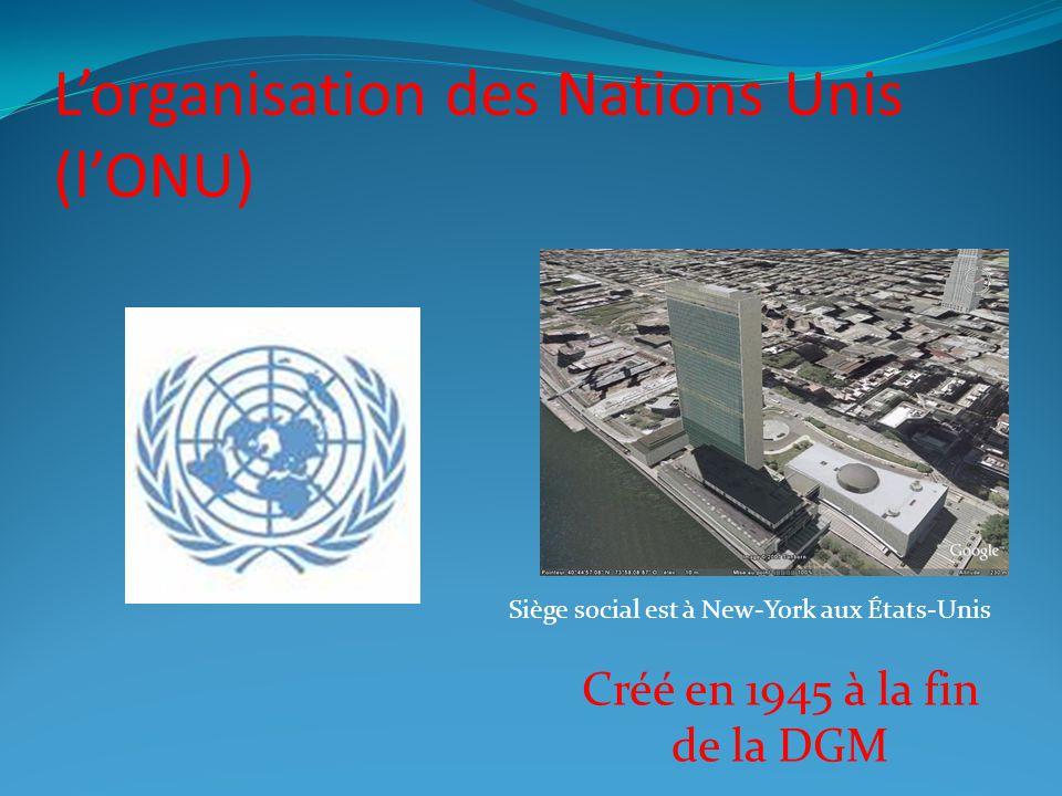 L'organisation des Nations Unis (l'ONU)