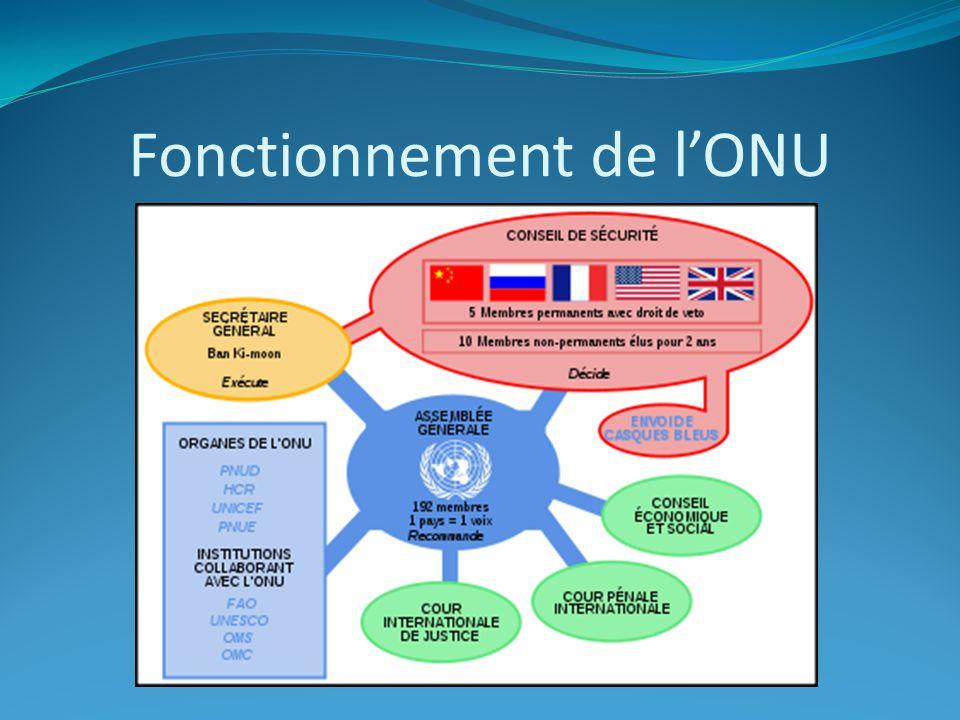 Fonctionnement de l'ONU