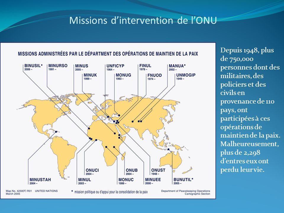 Missions d'intervention de l'ONU