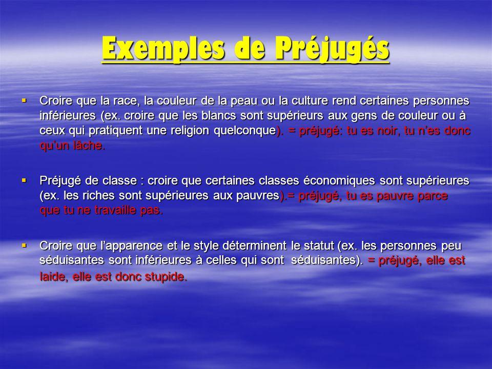 Exemples de Préjugés