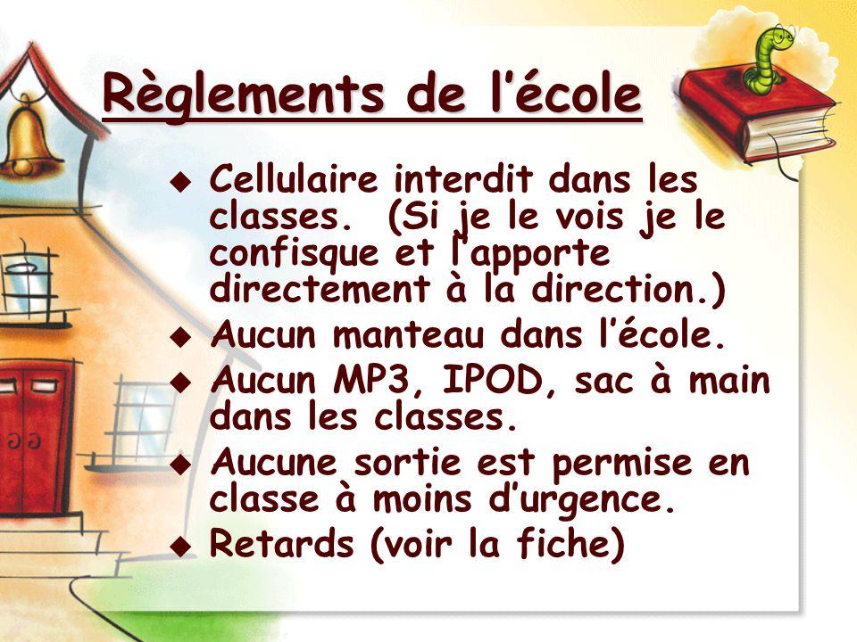 Règlements de l'école Cellulaire interdit dans les classes. (Si je le vois je le confisque et l'apporte directement à la direction.)