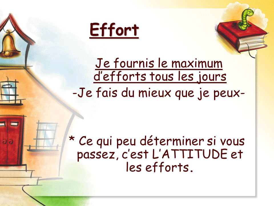 Effort Je fournis le maximum d'efforts tous les jours