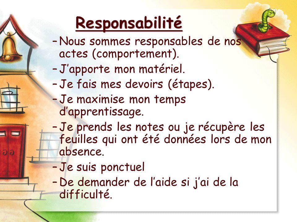 Responsabilité Nous sommes responsables de nos actes (comportement).