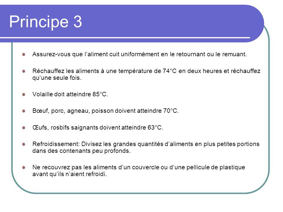 Principe 3 Assurez-vous que l'aliment cuit uniformément en le retournant ou le remuant.