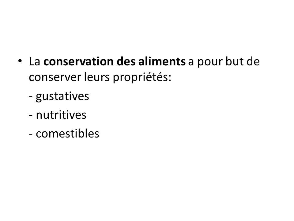 La conservation des aliments a pour but de conserver leurs propriétés: