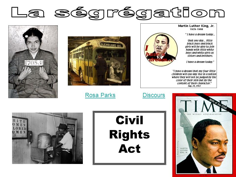 La ségrégation Rosa Parks Discours Civil Rights Act