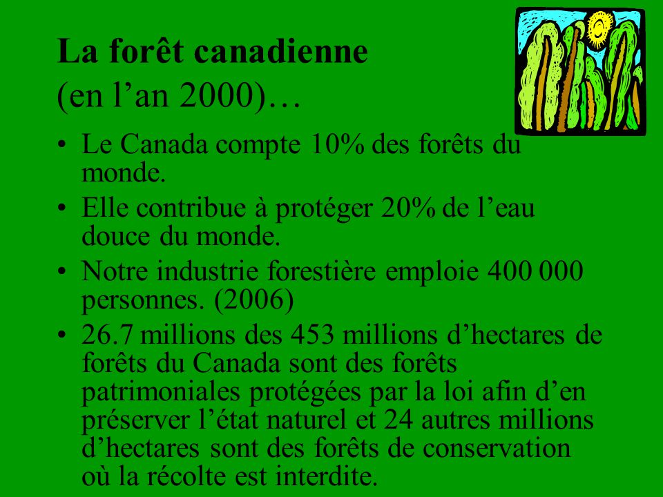 La forêt canadienne (en l'an 2000)…