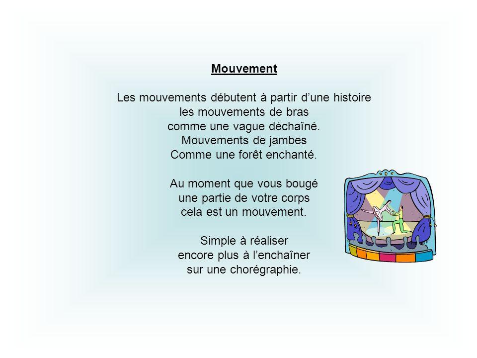 Les mouvements débutent à partir d'une histoire les mouvements de bras