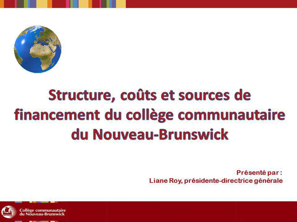 Structure, coûts et sources de financement du collège communautaire du Nouveau-Brunswick