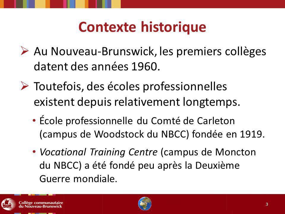 Contexte historique Au Nouveau-Brunswick, les premiers collèges datent des années 1960.