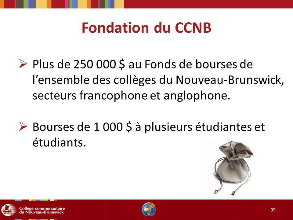Fondation du CCNB Plus de 250 000 $ au Fonds de bourses de l'ensemble des collèges du Nouveau-Brunswick, secteurs francophone et anglophone.