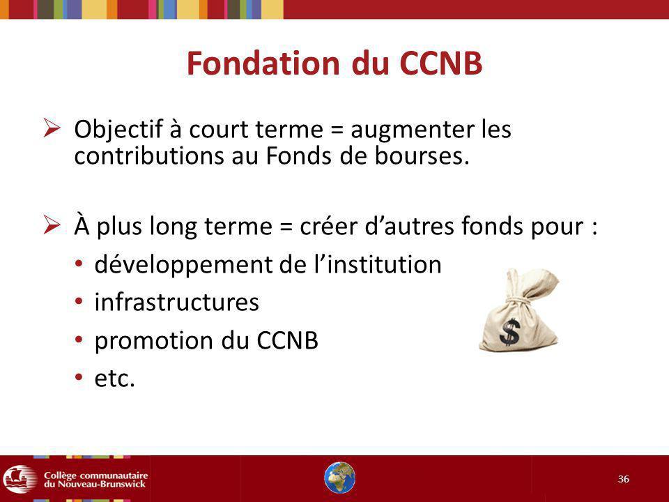 Fondation du CCNB Objectif à court terme = augmenter les contributions au Fonds de bourses. À plus long terme = créer d'autres fonds pour :