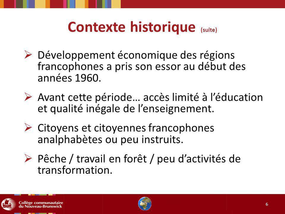 Contexte historique (suite)