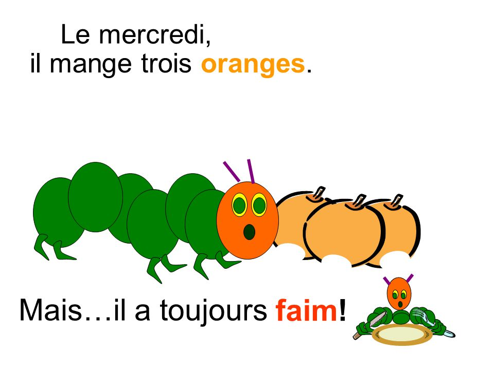 Mais…il a toujours faim! il mange trois oranges. Le mercredi,