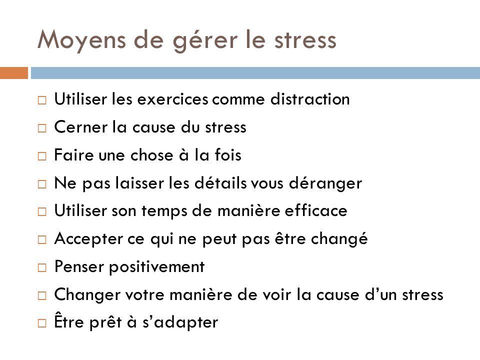 Moyens de gérer le stress