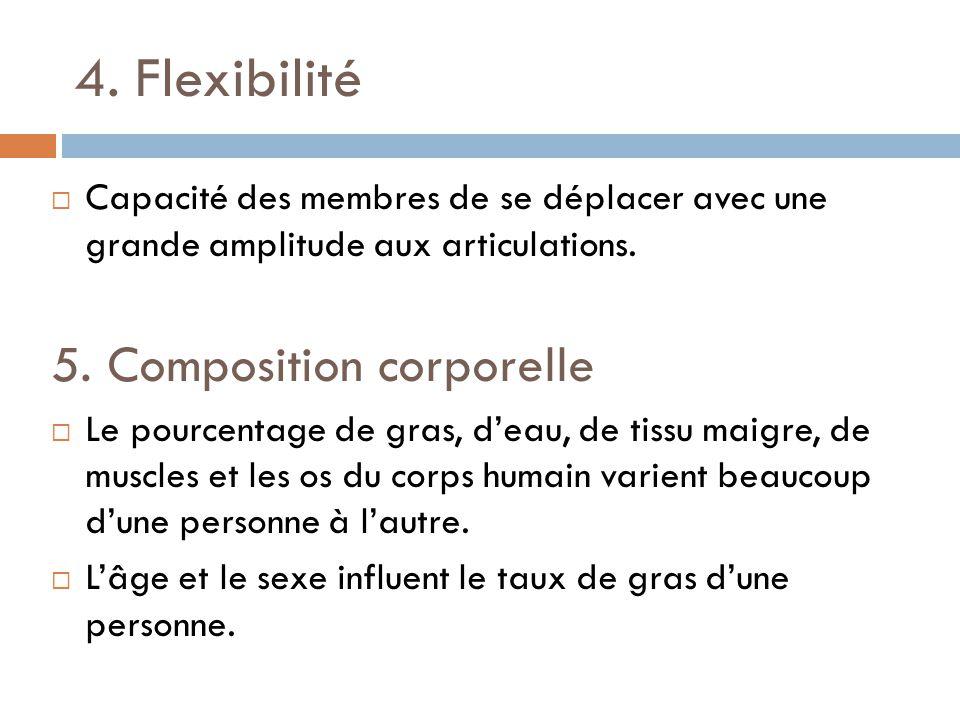 4. Flexibilité 5. Composition corporelle