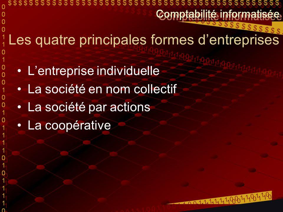 Les quatre principales formes d'entreprises