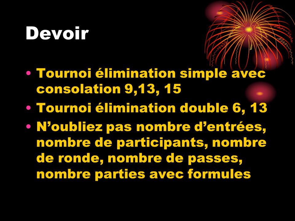 Devoir Tournoi élimination simple avec consolation 9,13, 15